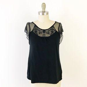 GAP Black Flutter Sleeve Sheer Top Tank Shirt U883
